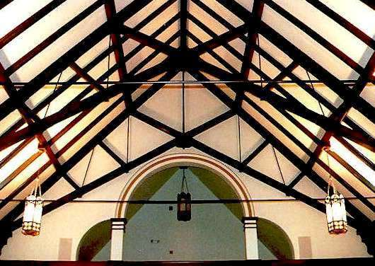 timber scissor trusses for a church ceiling