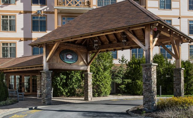 Timber Frame Porte Cochere Entry Way at Founders Lodge in VT