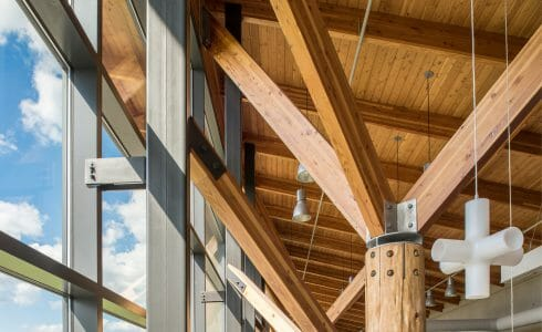 Interior of the Nemacolin Woodland Ski Resort with Glulam Beams