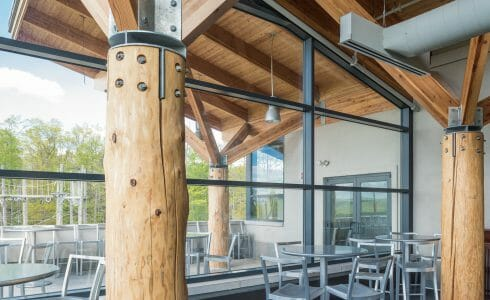 Interior of the Nemacolin Woodland Ski Resort with Glulam Beams