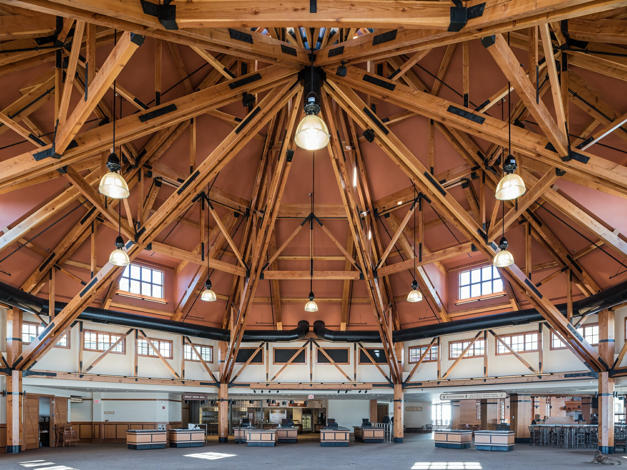 public timber frames to visit spruce camp lodge