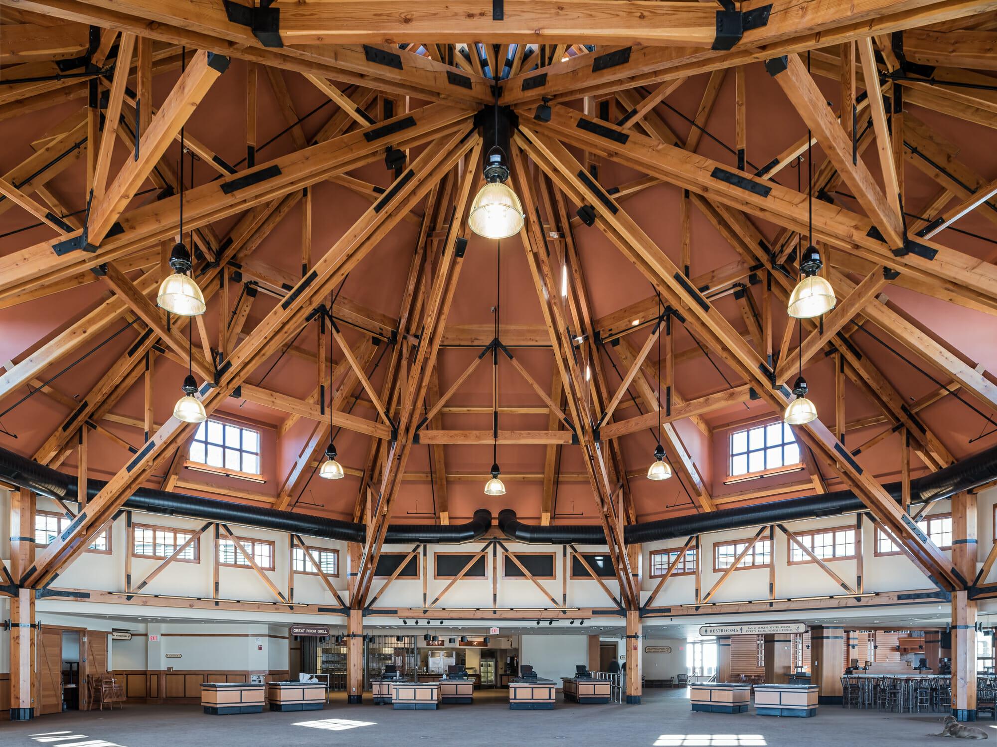 public timber frames to visit spruce camp lodge