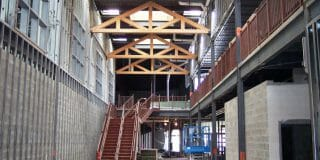 King Post Trusses in Westbrook middle school Under Construction