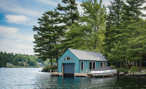 Timber Frame Boat House on Lake Sunapee in NH
