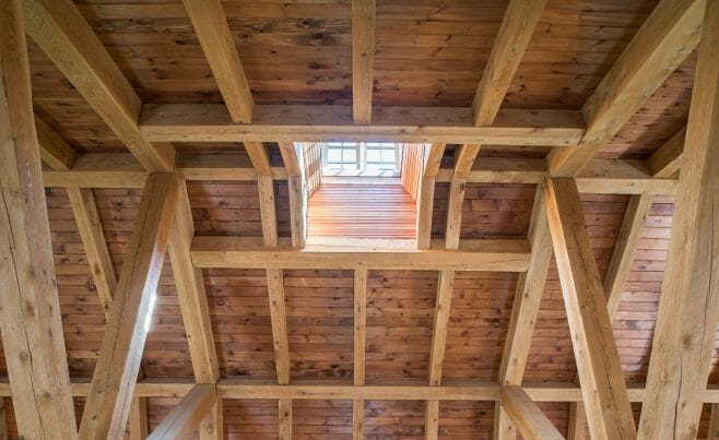 Interior of Eberhart Barn, Gambrel Barn with Rough sawn Hemlock