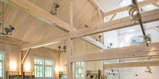 White Washed Hemlock Beams in the Cornwall Library in CT