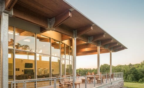 Exterior of the Student Pavilion at Middlesex Community College.