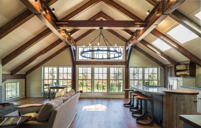 Interior Kitchen and Living room of a Barn Style home in NH