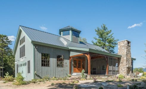 Exterior of a Timber Frame Barn Style Home in NH
