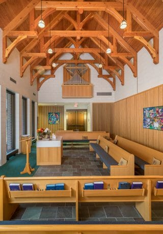 Interior of Westminster Presbyterian Church with Hammer Beam Trusses