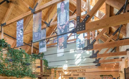 Heavy Timber Trusses with Steel plates and tie rods at the White Mountain National Forest Administration Complex
