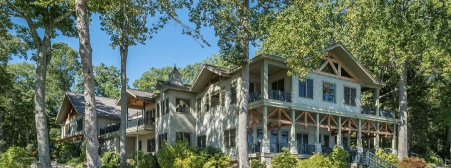 custom timber frame lake house