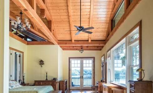 Interior Bedroom with Trusses inside the Wakenah Lake house