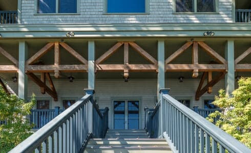 Exterior Timber Details of the Wakenah Lake House in CT
