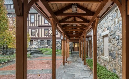 Exterior of the Hackley school with a Cedar Covered Walkway