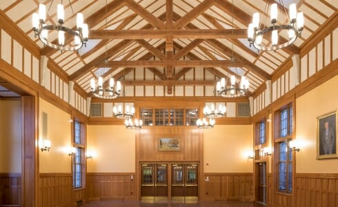 Interior of the Hackley School with Modified King Post trusses for an assembly room