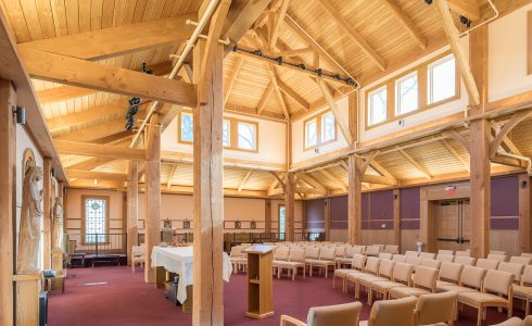 Traditionally joined beams in the chapel in the Notre Dame Academy in Staten Island, NY