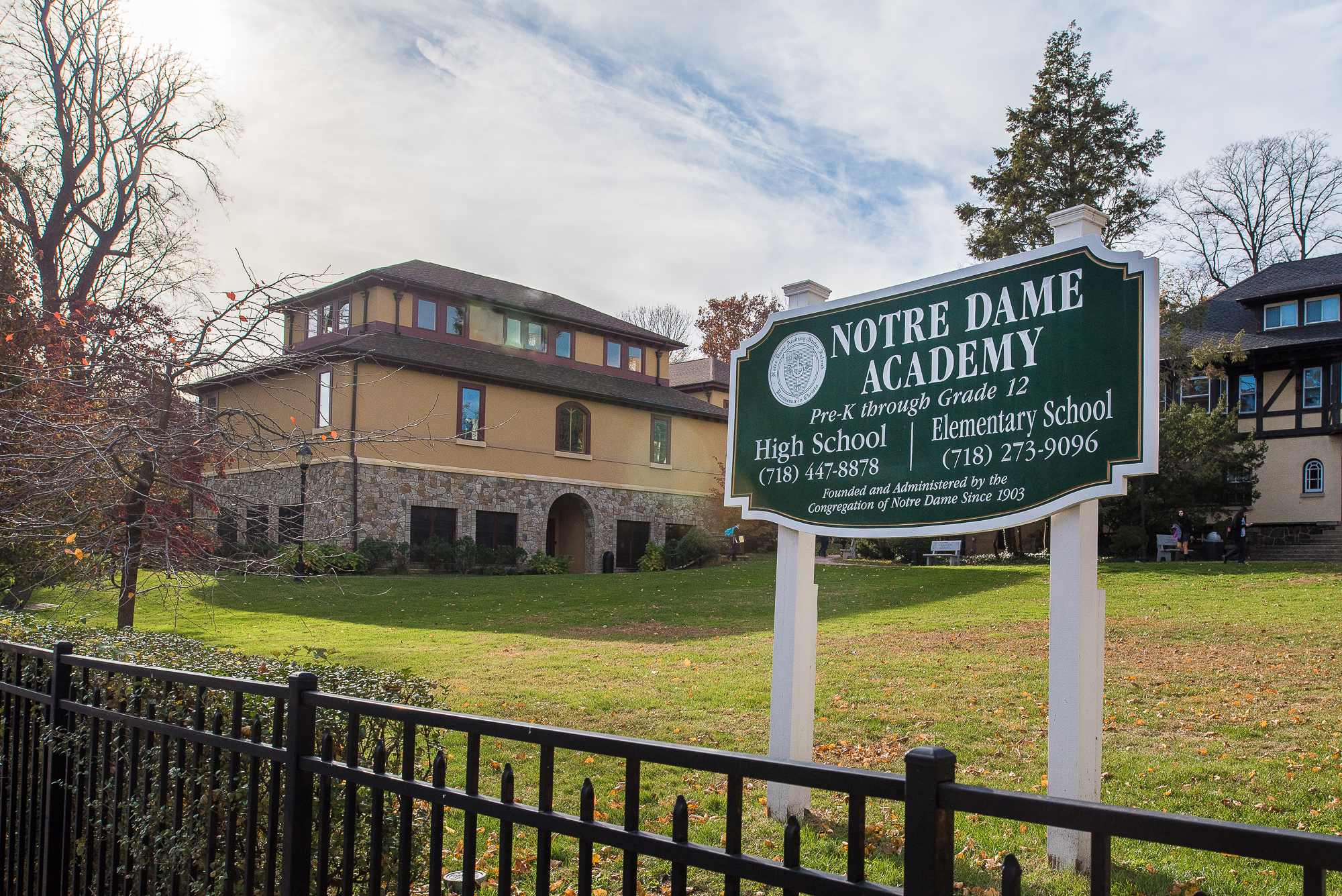 Exterior of the Notre Dame Academy on Staten Island, NY