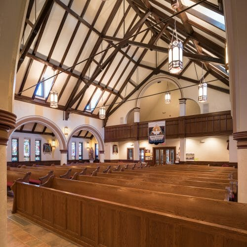 St. Catherine's Parish church in MA with Scissor trusses with steel tie rods