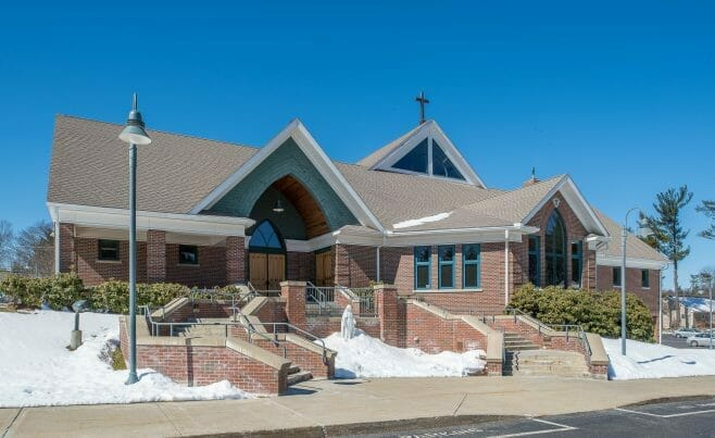 Exteior of Immaculate Conception church in Nashua, NH