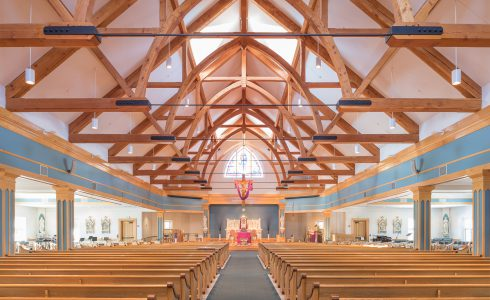 Interior of Immaculate Conception Church with Timber Trusses and Steel tie rods