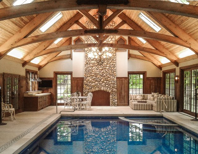 Timber Frame Arched Trusses Indoor Pool House in OH. Reed Pool House.