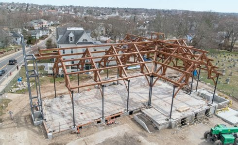 Aerial View of Church of St. Michael the Archangel Timber Frame
