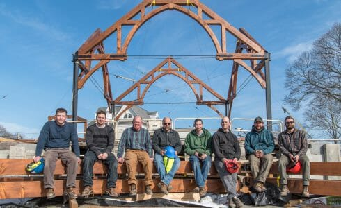 The Crew after Raising the Timber Frame at The Church of St. Michael the Archangel