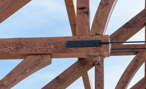 Trusses with steel tie rods at the Church of St. Michael the Archangel