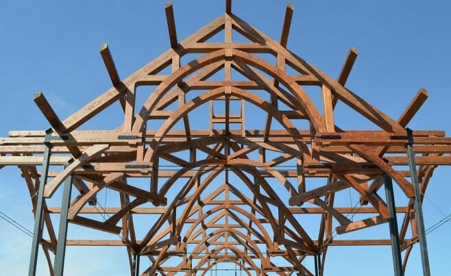 Completed Timber Frame for The Church of St. Michael the Archangel