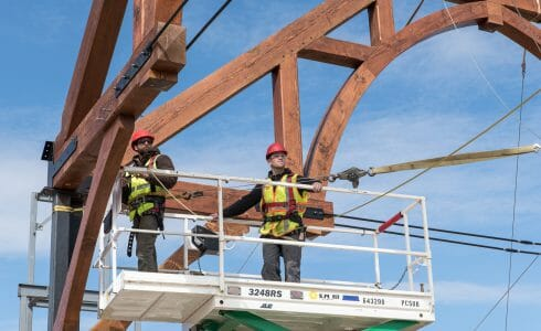 The Church of St. Michael the Archangel Truss Being Installed Using Traditional Joinery