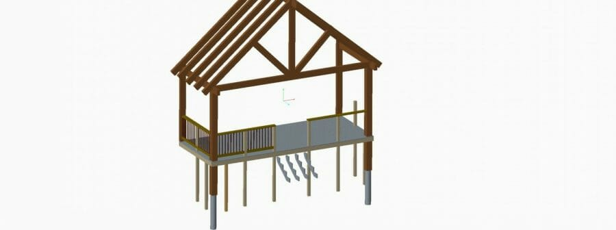 3D Model of a Timber Frame Deck