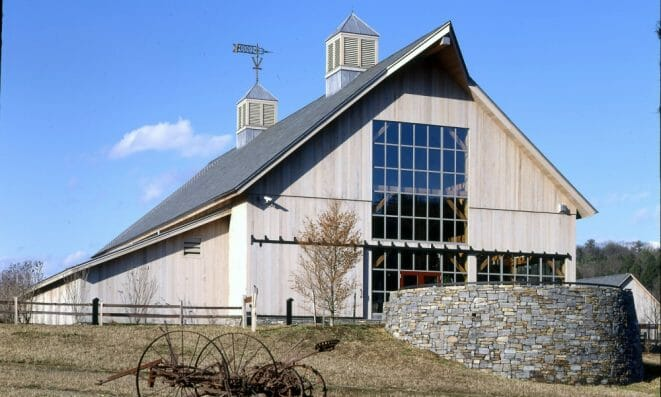 Exterior of the Vermont Welcome Center built in a classic barn style
