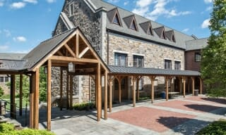 Covered Cedar Timber Frame Walkway at a School in NY