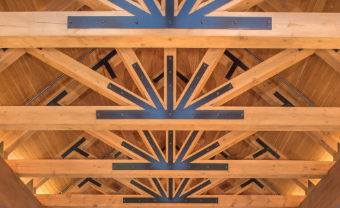Heavy Timber construction King Post Timber Frame Truss with Steel at the Oxford Casino