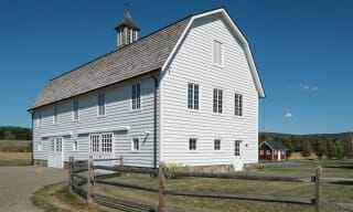 Gambrel style timber frame barn in upstate NY