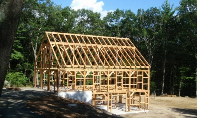 Rough Sawn Hemlock, Three story Timber Frame Equipment Storage Barn