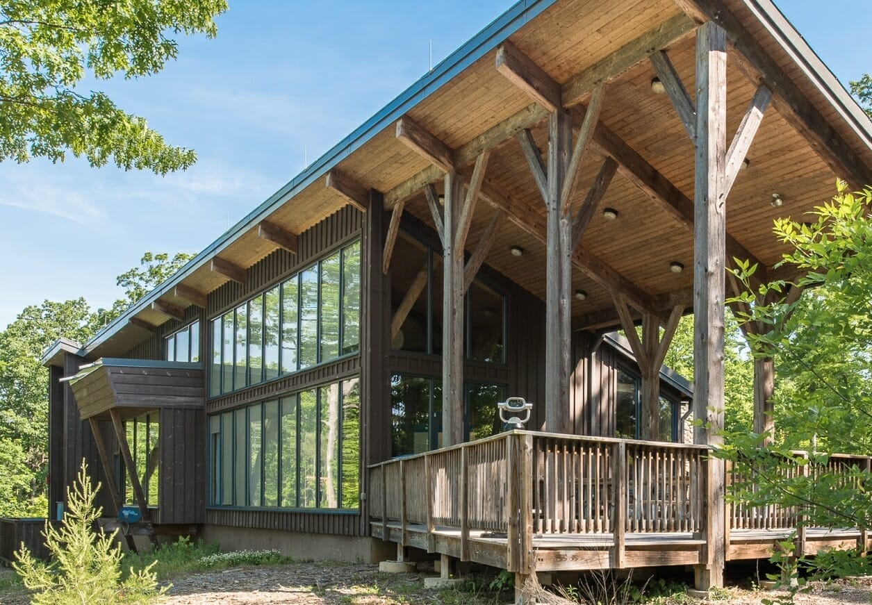 Shenandoah State Park Visitors Center built with Native Hemlock Timber with Traditional and Steel Joinery.