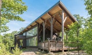 Custom Hemlock and Steel Joinery Timber Frame Visitors Center at Shenandoah State Park