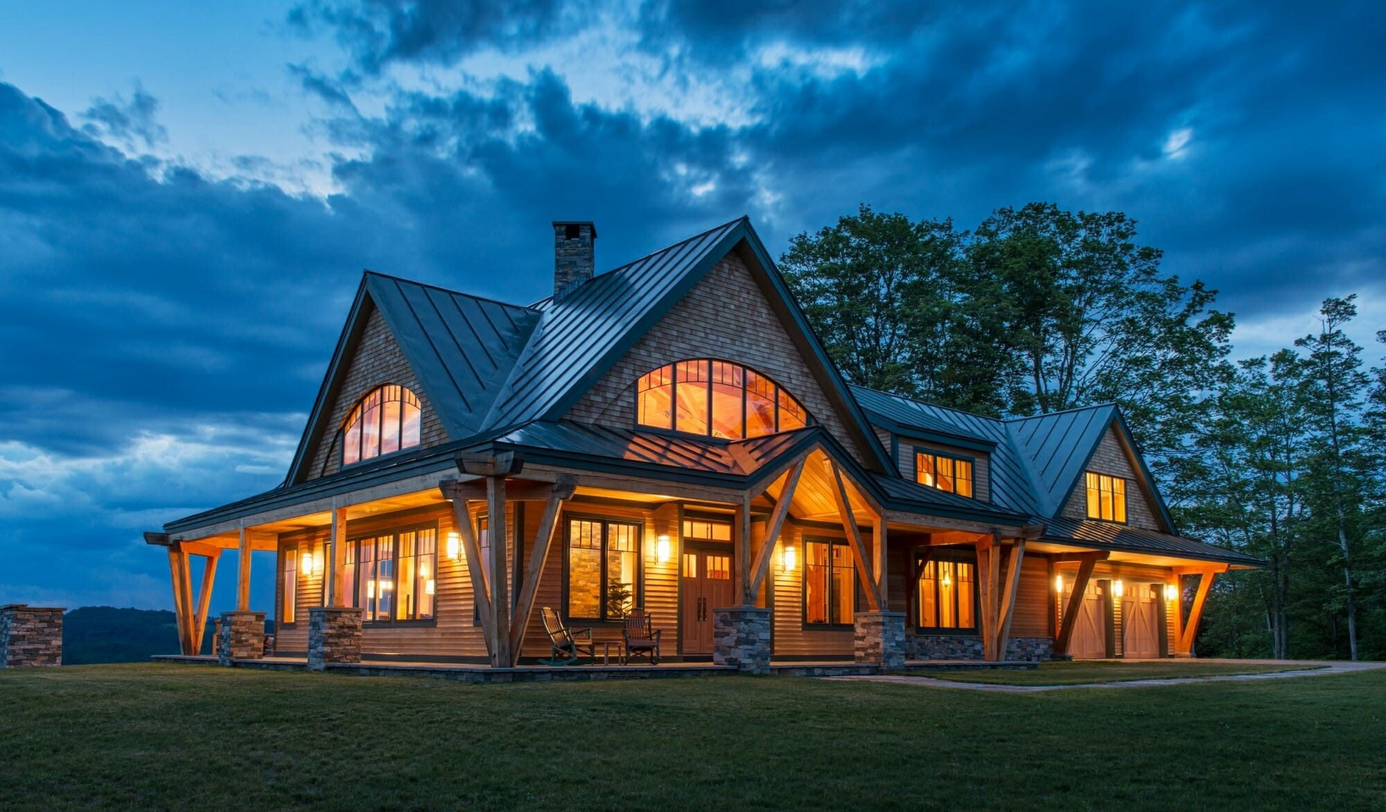 Exterior, Night Time View of Award-winning Night Pasture Farm in Chelsea, VT