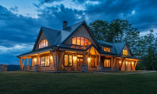 Exterior of Timber Frame Home Night Pasture Farm in Chelsea, VT.