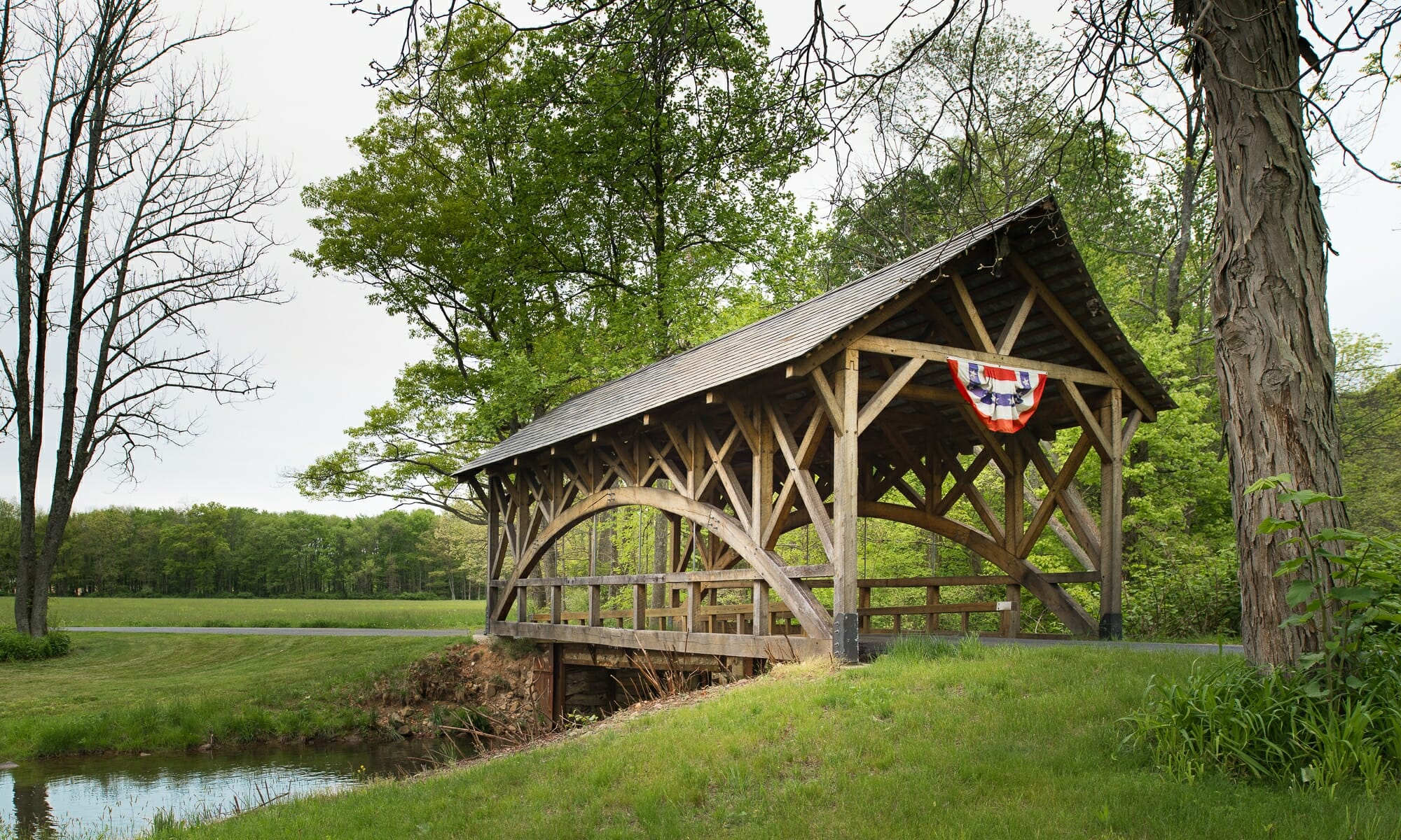Traditional Timber Frame Covered Bridge in Vermont