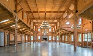 Interior of a Timber Frame Dining Hall for Boy and Girl Scout Camp.