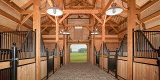 Rough Sawn Hemlock Timber Frame Horse Barn in South Carolina