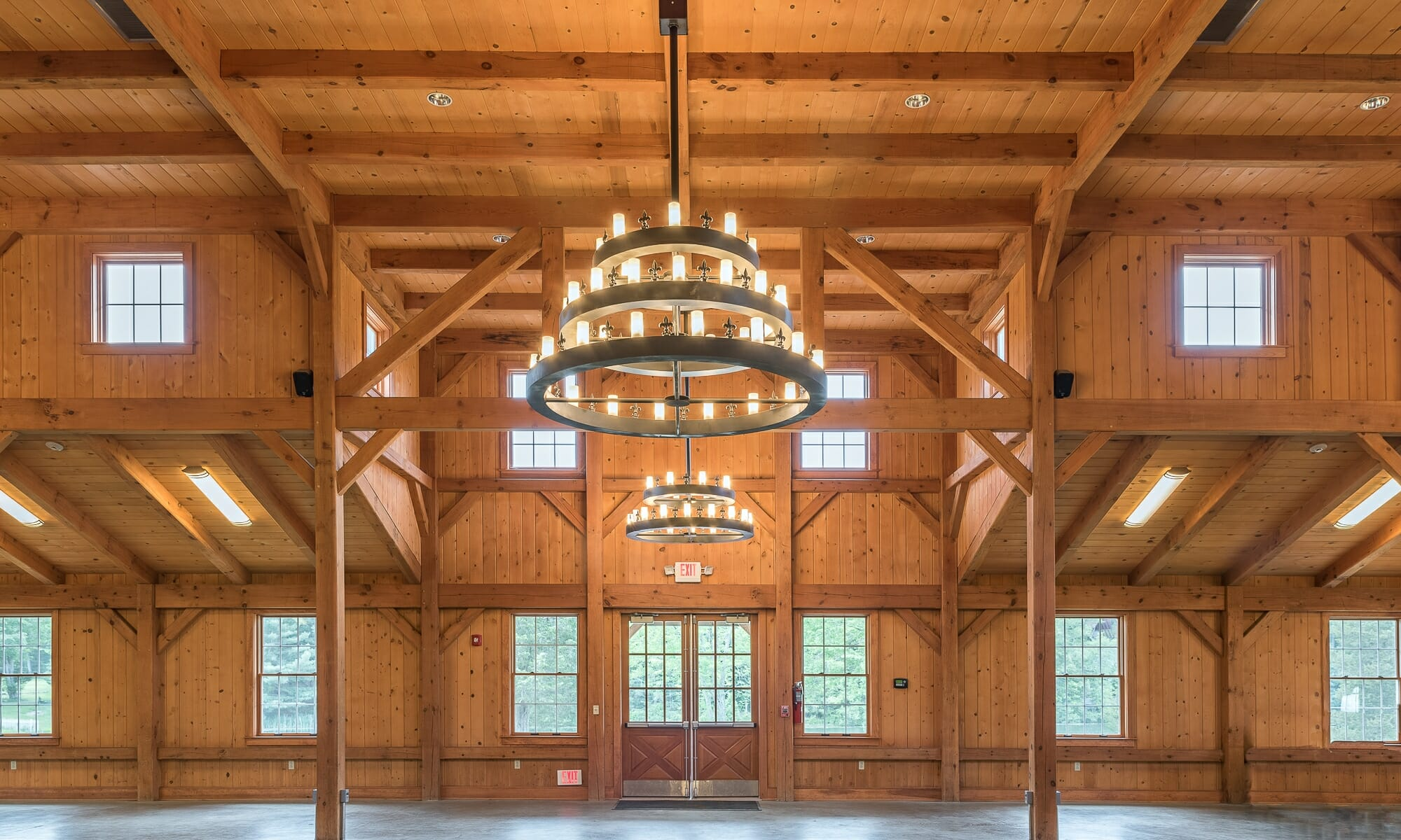 Interior of a Heavy Timber Frame Dining Hall for a Boy Scout Camp in CT