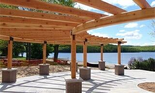 Timber Frame Pergola with Glulam Arches