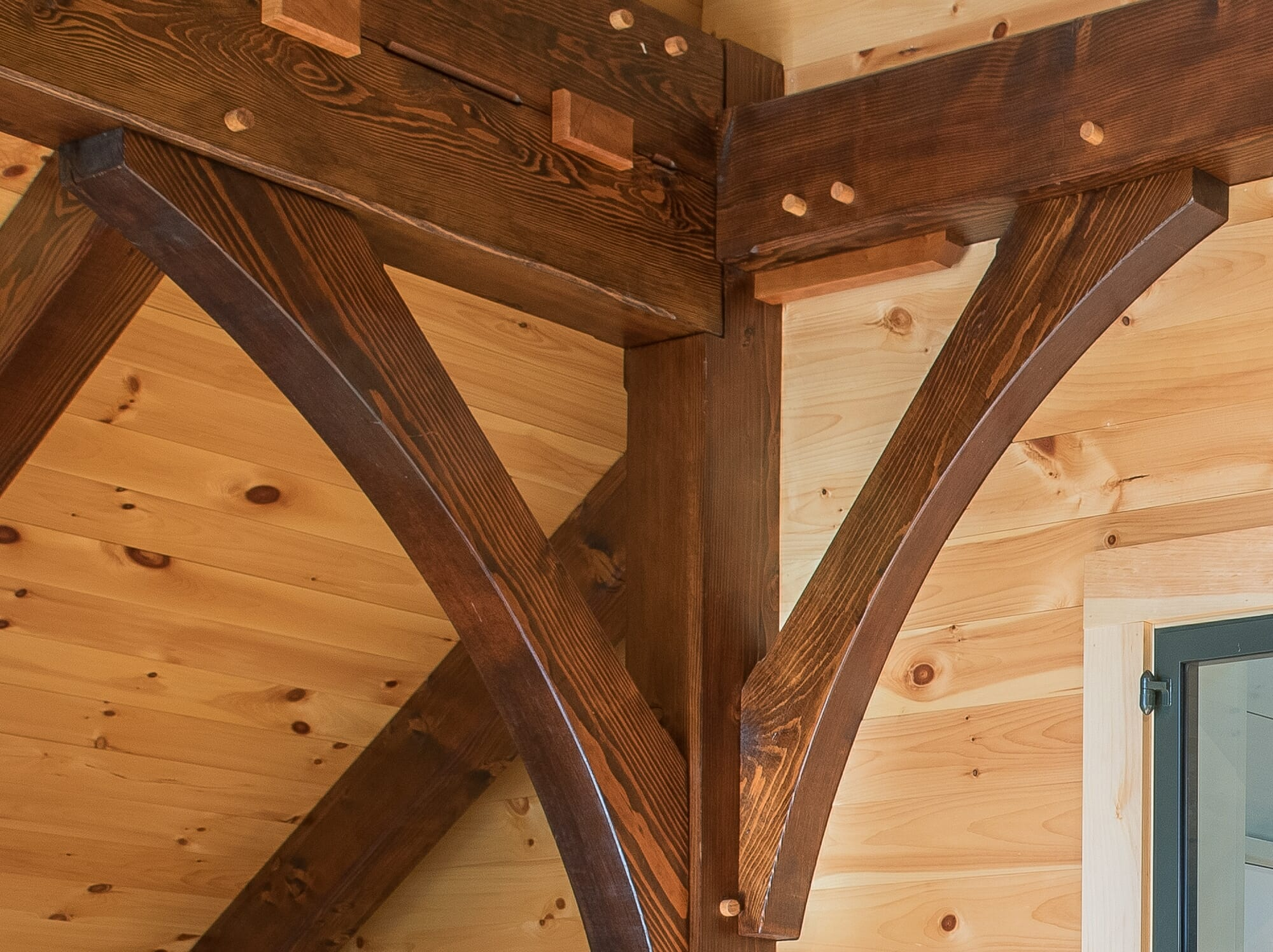 Timber Frame Joinery with Pegs and Keys in Barn Style Home in NH