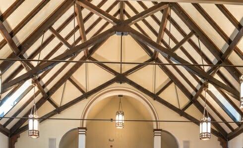 Scissor Truss with steel rod in Saint Catherine's Church