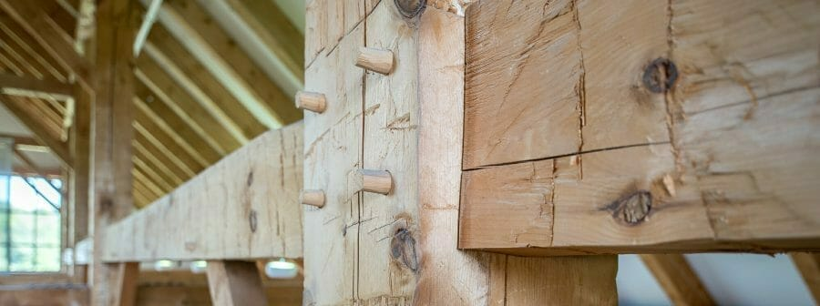 Hand Hewn Pine Beams in the Southern Vermont Welcome Center