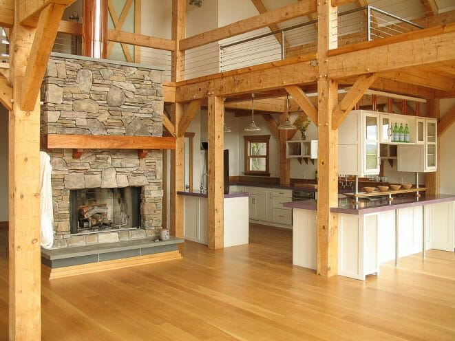 Hand Hewn Beams in Barn Style Home Kitchen. Jupiter Barn Kitchen